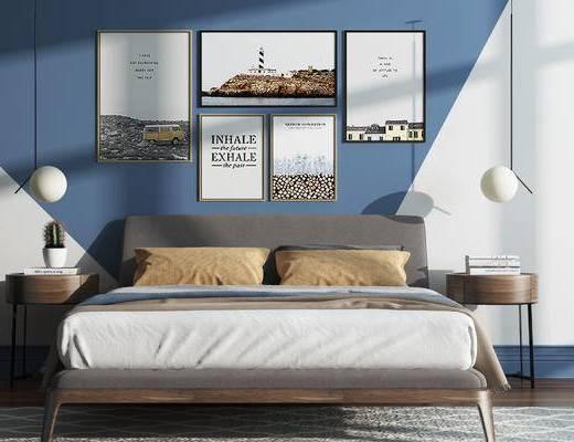 卧室, 床, 照片墙, 北欧, 现代, 挂画, 装饰画, 吊灯, 床头柜, 边几, 地毯
