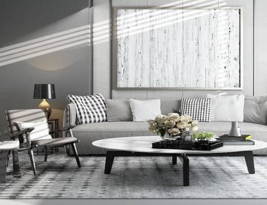 客厅, 沙发, 茶几, 椅子, 台灯, 装饰品, 抱枕