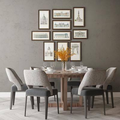 简欧餐桌, 单椅, 挂画