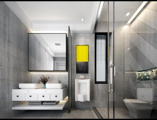 卫生间, 淋浴间, 便器, 洗手台, 镜子, 卫浴