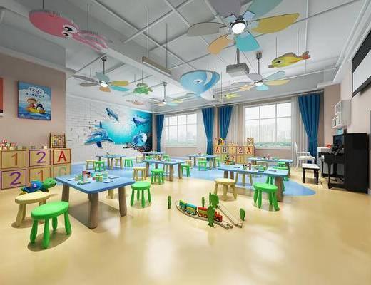 早教中心, 幼儿园桌椅, 幼儿园吊灯, 墙饰, 消毒灯