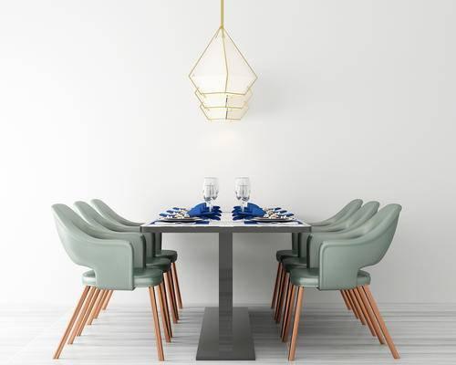 餐厅, 餐桌椅, 餐桌, 椅子, 吊灯