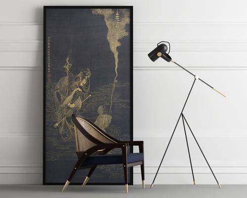 装饰画, 挂画, 落地灯, 单人椅, 现代