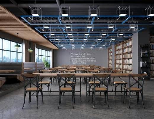 阅读室, 桌椅组合, 射灯, 书柜, 书籍