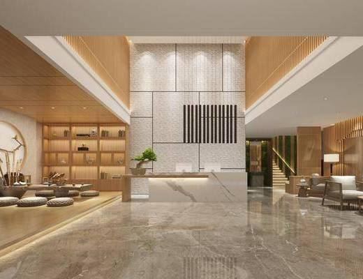 茶馆大厅, 单人沙发, 盆栽绿植, 茶具, 摆件, 装饰品, 陈设品, 新中式