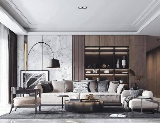 现代, 沙发组合, 多人沙发, 单人沙发, 落地灯, 茶几, 边几, 摆画, 地毯