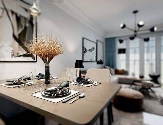 沙发组合, 吊灯, 茶几, 餐桌, 桌椅组合