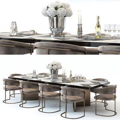 桌椅组合, 餐桌, 单椅, 椅子, 现代餐桌椅组合, 餐具, 酒瓶, 花瓶, 花卉, 后现代