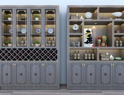 酒柜, 装饰柜, 酒瓶, 摆件, 装饰品, 陈设品, 中式