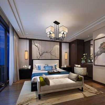 新中式, 卧室, 吊灯, 床, 床头柜, 台灯, 背景墙, 挂画
