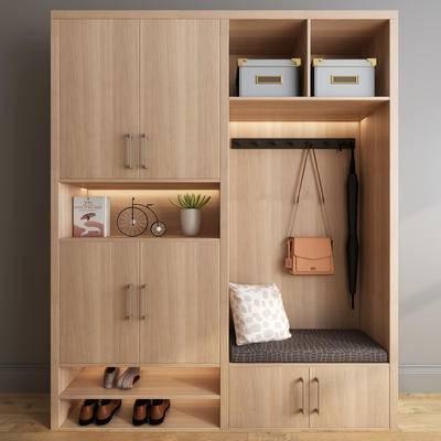 衣柜, 鞋柜, 衣帽柜, 木柜, 现代