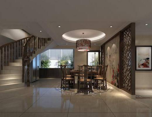 餐厅, 餐桌, 餐椅, 单人椅, 餐具, 吊灯, 楼梯, 装饰画, 挂画, 冰箱, 中式