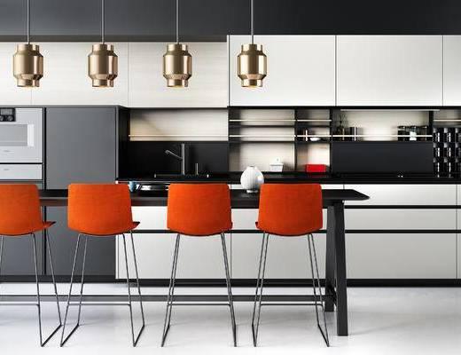 现代, 厨房, 吧台