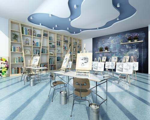 现代, 幼儿园, 美术室, 绘画室