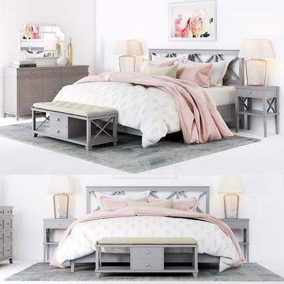 双人床, 边柜, 床头柜, 现代