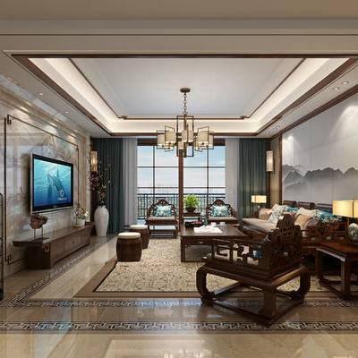 中式, 新中式, 中式沙发, 中式餐桌椅, 中式圆桌, 中式家具组合