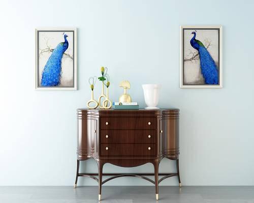 装饰柜, 新中式装饰柜, 中式装饰柜, 摆件, 装饰画