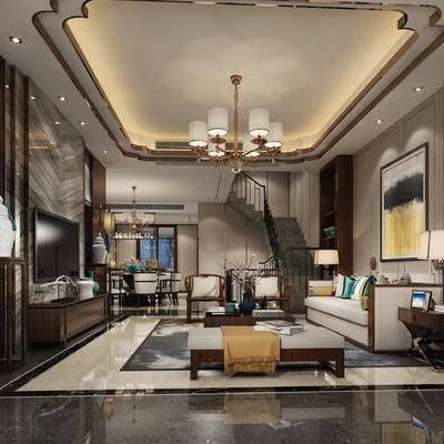 中式客厅, 客厅, 中式, 中式沙发, 中式壁灯, 别墅, 中式别墅