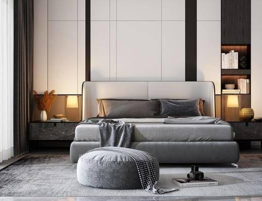 中式双人床组合, 双人床, 床头柜, 沙发凳