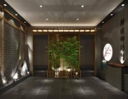 门厅, 过道, 墙饰, 盆栽, 新中式
