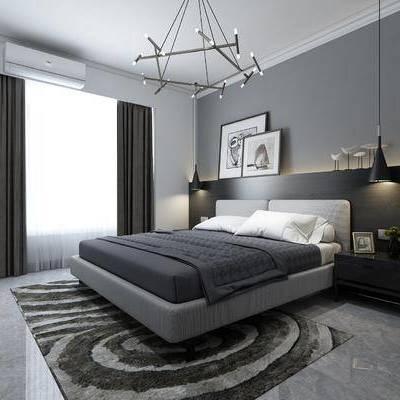 卧室, 现代, 简约, 床具, 双人床, 装饰画, 挂画, 吊灯, 床头柜, 地毯, 植物, 花卉, 摆件, 装饰品, 空调