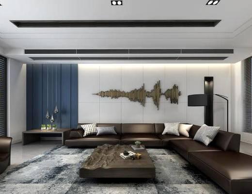 现代客餐厅, 多人沙发组合, 茶几, 墙面装饰, 地毯