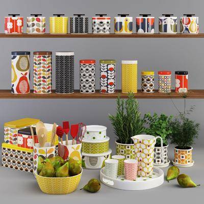 食物, 罐装, 调料, 盆栽, 水果, 组合, 展示栏, 现代
