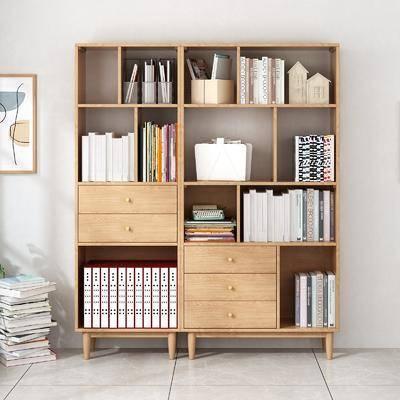 书柜, 书籍, 柜架组合, 装饰画
