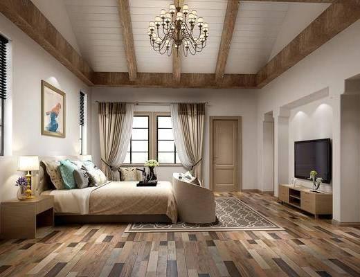 卧室, 双人床, 床尾凳, 床头柜, 台灯, 装饰画, 挂画, 电视柜, 边柜, 单人沙发, 双人沙发, 摆件, 装饰品, 陈设品, 美式