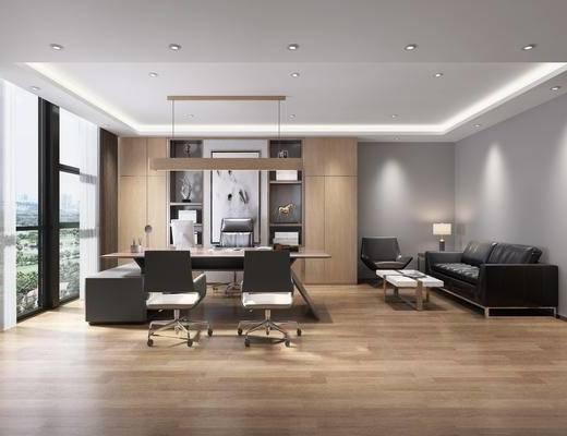 办公室, 办公桌, 办公椅, 单人椅, 多人沙发, 茶几, 边几, 台灯, 吊灯, 装饰品, 陈设品, 装饰画, 现代