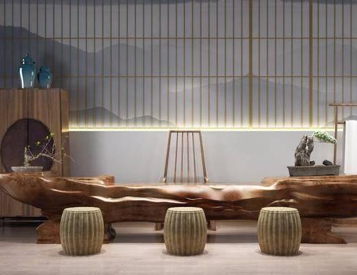 茶几组合, 泡茶室, 根雕茶海, 茶桌, 凳子, 单人椅, 边柜, 盆栽, 绿植植物, 中式