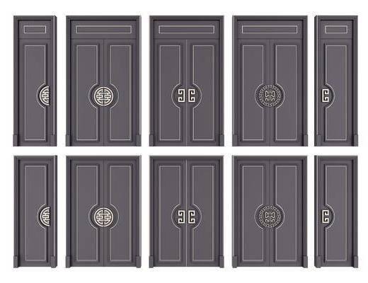 门, 新中式门, 双开门