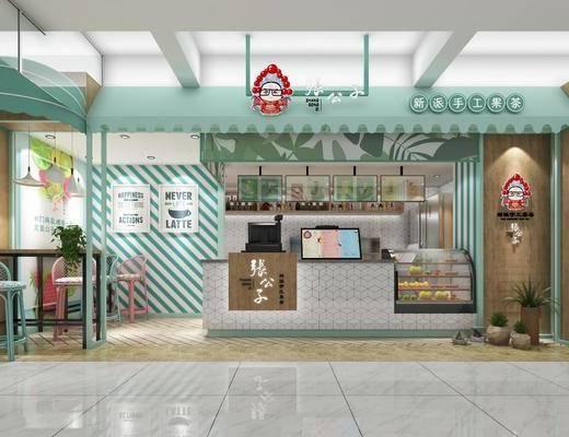 奶茶店, 前台, 装饰画, 挂画, 吧台, 吧椅, 单人椅, 吊灯, 装饰品, 陈设品, 盆栽, 现代