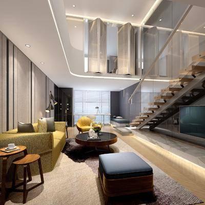 现代客厅复式, 现代客厅, 复式, 现代, 沙发组合, 茶几, 楼梯