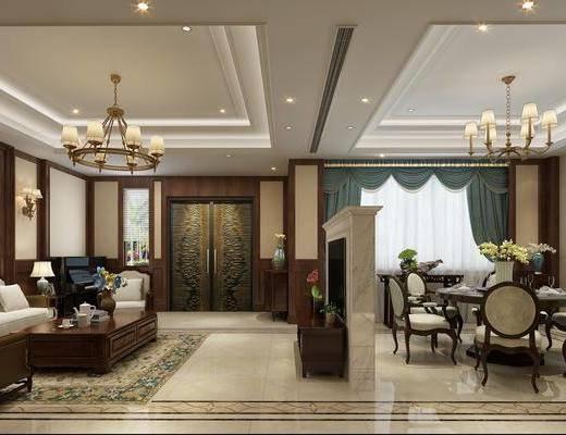 客厅, 餐厅, 门厅, 走廊过道, 美式客餐厅, 沙发组合, 茶几, 摆件, 桌椅组合, 餐具, 单椅, 美式