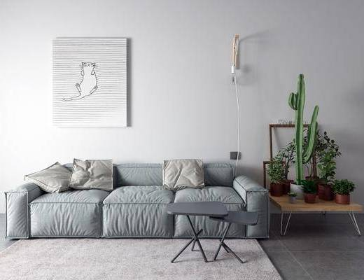 三人沙发, 多人沙发, 沙发组合, 盆栽, 植物, 装饰画