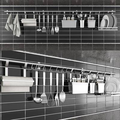 勺子, 叉子, 手巾, 不锈钢, 碟子, 现代