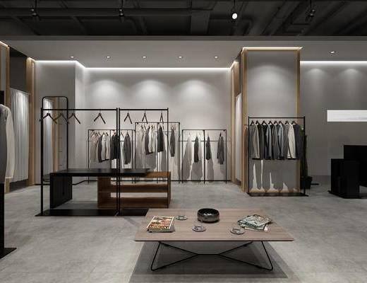 服装, 工业风, 货架, 衣服, 店铺, 现代, 衣架, 镜子