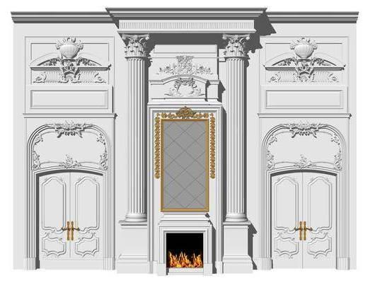 欧式雕花装饰墙, 护墙板, 罗马柱
