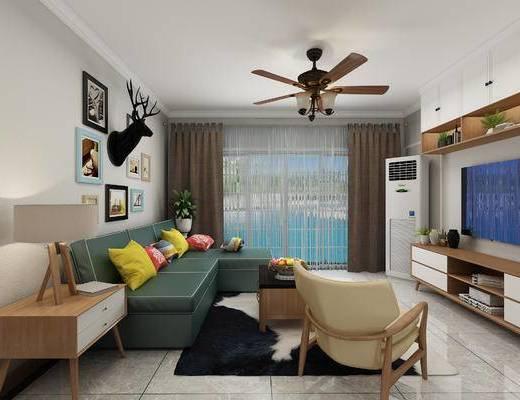 北欧客餐厅, 北欧客厅, 现代沙发, 沙发组合, 沙发茶几组合, 电视柜
