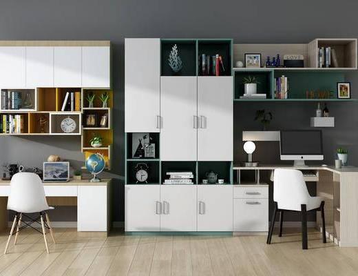 桌椅组合, 书柜, 装饰柜, 摆件组合, 书架, 现代