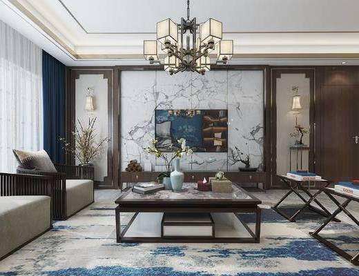 新中式客厅, 客厅, 中式客厅