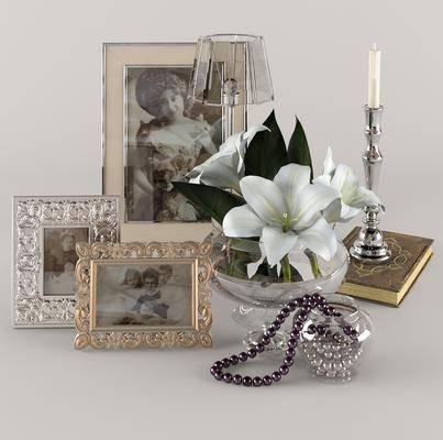 蜡烛台, 相框, 花卉, 装饰品, 蜡烛, 项链, 台灯, 现代