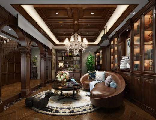 美式会客厅, 多人沙发, 茶几, 宠物狗, 书架, 吊灯, 美式