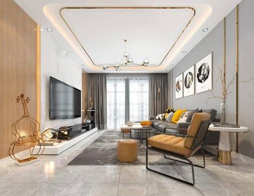 客厅, 多人沙发, 边几, 单人沙发, 茶几, 脚踏沙发, 装饰画, 挂画, 吊灯, 落地灯, 摆件, 装饰品, 陈设品, 北欧