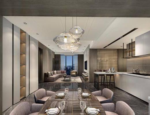 后现代客餐厅厨房组合, 后现代, 餐厅, 餐桌椅, 现代吊灯, 沙发, 吧台