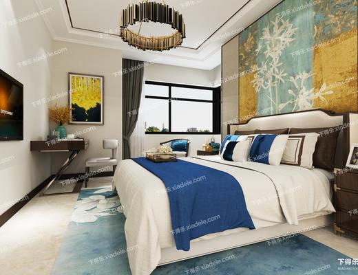 卧室, 新中式, 整体模型, 现代, 中式卧室, 床