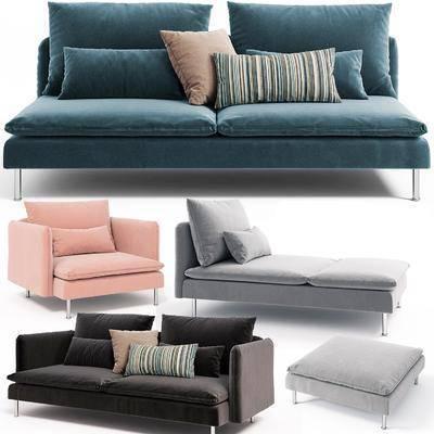 双人沙发, 布艺沙发, 躺椅, 现代
