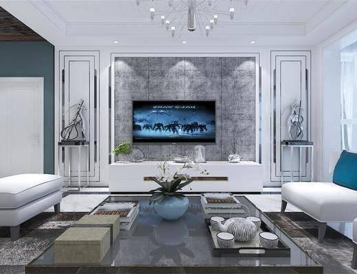 现代客厅, 现代沙发, 沙发组合, 电视柜, 吊灯, 茶几