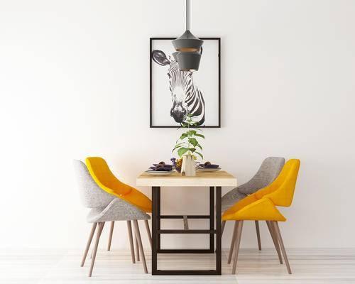 餐桌, 椅子, 绿植, 装饰画, 吊灯